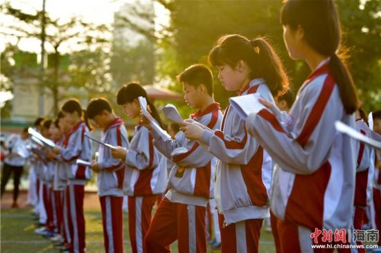 海口千名学生每天诵读国学经典 课间打跆拳道