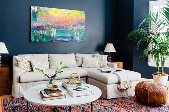 抽象灵感海军蓝 波士顿一居室公寓