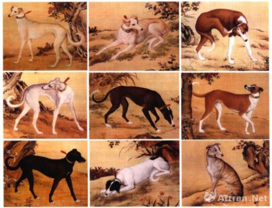 郎世宁《十骏犬图》 前9件作品