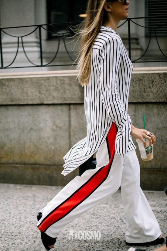 条纹衬衫+牛仔裤=清爽又时髦