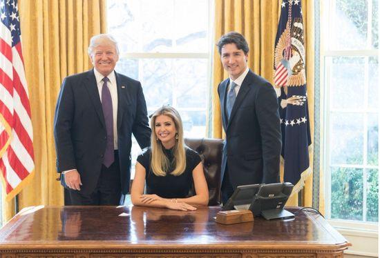 特朗普、伊万卡和加拿大总理特鲁多