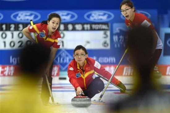 冰壶女子世锦赛:中国胜韩国(组图)