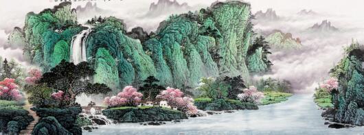王宁新作六尺横幅山水画作品《福居宝地》 作品来源:易从网