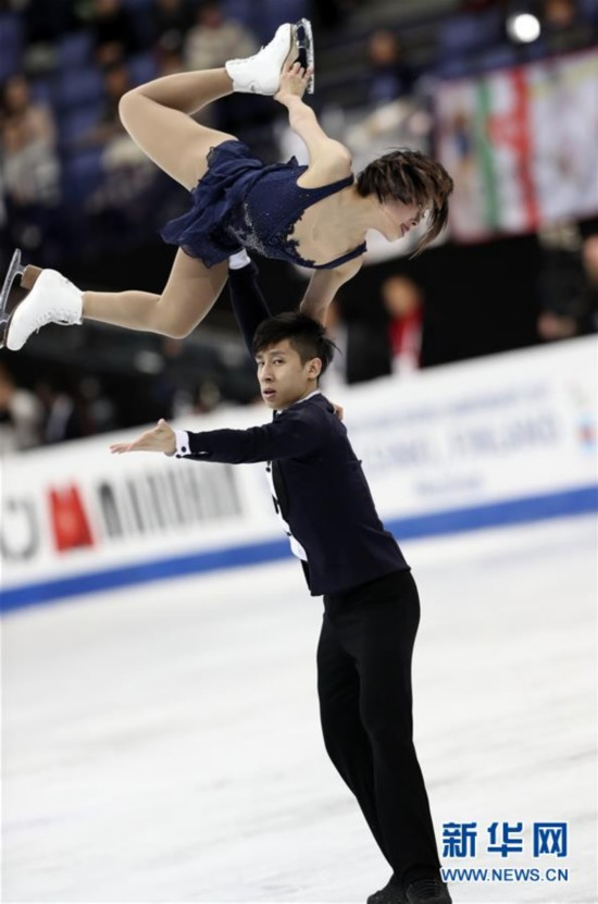 (体育)(6)花样滑冰――世锦赛:隋文静/韩聪获双人滑短节目第一名
