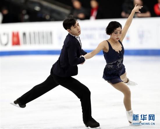 (体育)(5)花样滑冰――世锦赛:隋文静/韩聪获双人滑短节目第一名