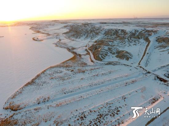 航拍新疆北屯丰庆湖国家湿地公园