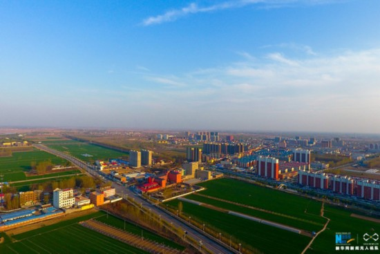 An aerial photo shows Anxin county in Hebei Province. [Photo: Xinhua]