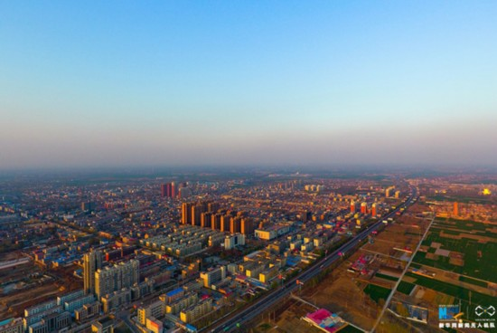 An aerial photo shows Rongcheng county in Hebei Province. [Photo: Xinhua]