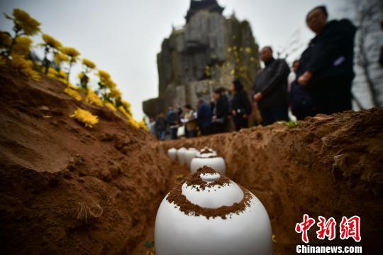 清明节河北举行免费公益花坛葬集体安葬仪式(图)