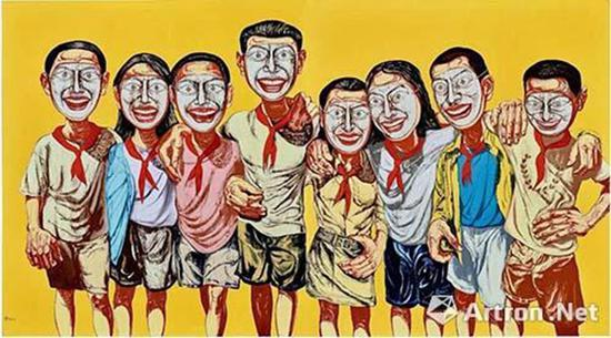 曾梵志《面具系列1996 No.6》 成交价:1.0502亿港元 (93085417.5462人民币)