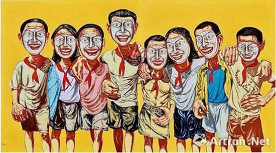 曾梵志《面具系列1996 No.6》 成交价:1.0502亿港元 80后金融藏家的第一件藏品  保利香港五周年春拍