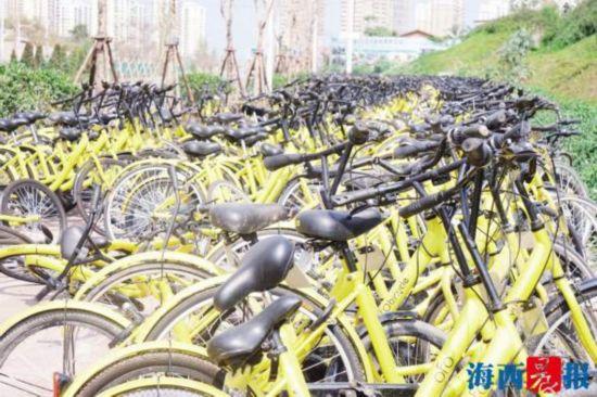 2000辆小黄车围占300米人行道 城管责令企业清理干净