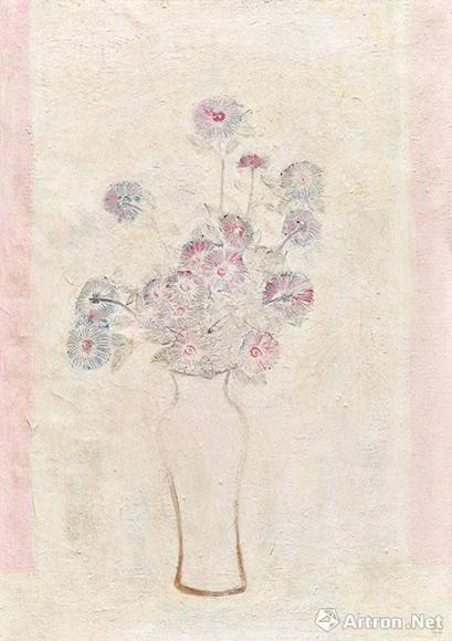 常玉《白瓶粉红菊》 成交价:5546万港元  保利香港五周年春拍