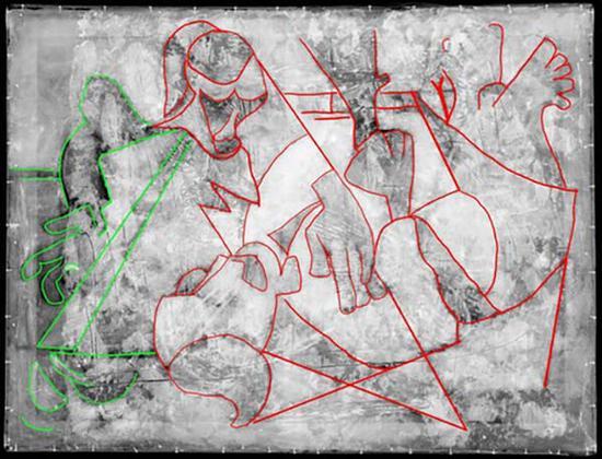 X光射线清楚的勾勒出了原生艺术风格的作品下面暗藏的立体派人像
