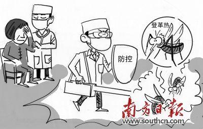 预防传染病画画-绘图:简仁山-东莞发现一例输入性登革热病例