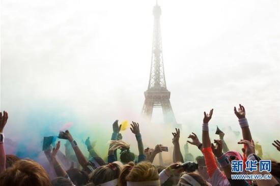 巴黎举行彩色跑活动