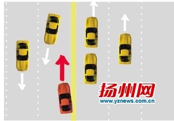 """扬州发布5种违法变道案例 """"变道口诀""""需记好"""