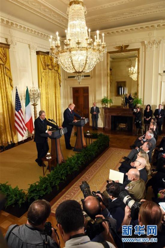 (国际)(2)美国总统特朗普会见意大利总理真蒂洛尼