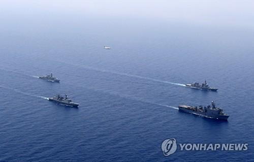 反海盗联合军演现场。(图片来源:韩联社)