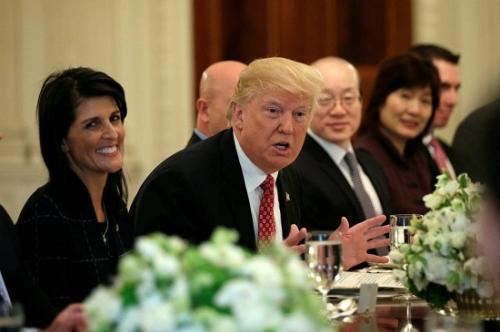 资料图:2017年4月24日,特朗普与联合国安理会成员国的大使们共进午餐。