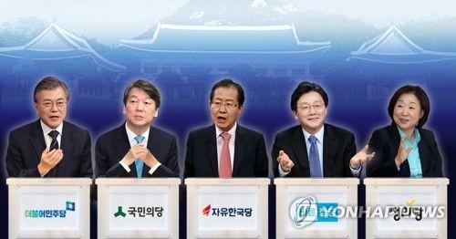 资料图片:左起依次是文在寅、安哲秀、洪准杓、刘承�G、沈相�c。(韩联社)