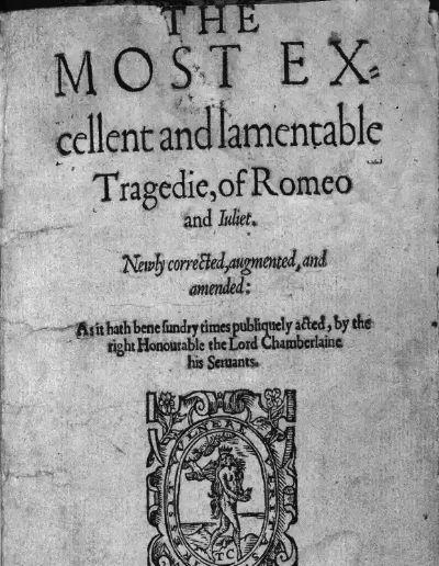 威廉・莎士比亚《罗密欧与朱丽叶》第二版四开本的标题页
