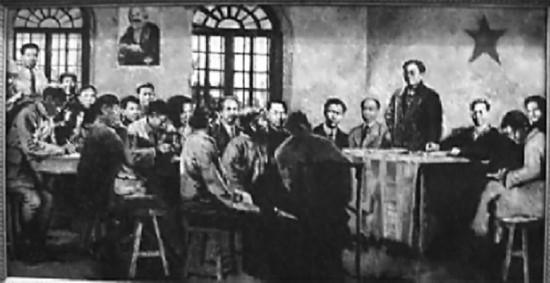 中国社会主义青年团第一次全国代表大会会场(油画)
