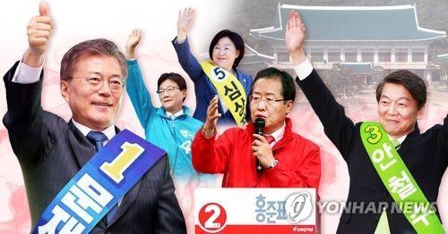 资料图片:文在寅、洪准杓、安哲秀、刘承�G和沈相�c的候选人编号分别是1、2、3、4和5。(图片来源:韩联社)