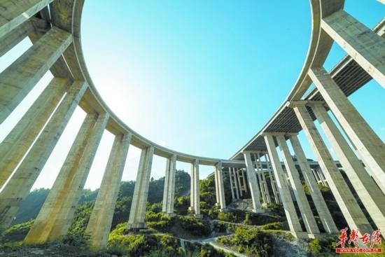 永吉高速石家寨互通立交桥:蓝天下的美丽曲线
