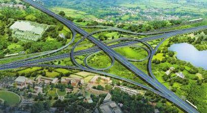 德阳至都江堰高速公路双盛枢纽互通效果图.图片