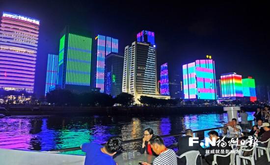 榕城夜景醉来宾 海峡金融商务区梦幻灯光秀引赞叹