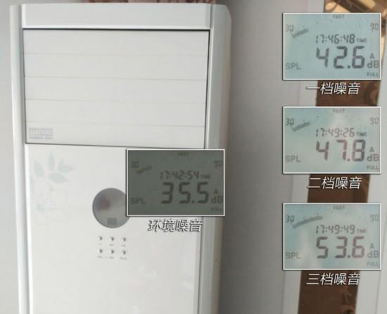 同一环境下 参照柜式空调的噪音表现 参照的对象,为一台同样是2P的变频冷暖空调。在同样噪音为35.5分贝的情况下开启一档风速,瞬间听到风声,噪音升至42.6dB。调至二档后,近距离听风声明显加大,噪音值也相应的升到47.8dB。最大的三档风速,噪音峰值达到了53.6dB,近距离听噪音非常明显,即便是在距离空调2米位置也能听到较大的风声。夜晚将空调开启睡眠静音模式,依然能明显听到风机运转声音,噪音控制效果一般。 由此可见,海尔静享风自清洁空调在噪音控制方面表现不错,即使是在静谧的夜晚,也不会打扰你安然入睡