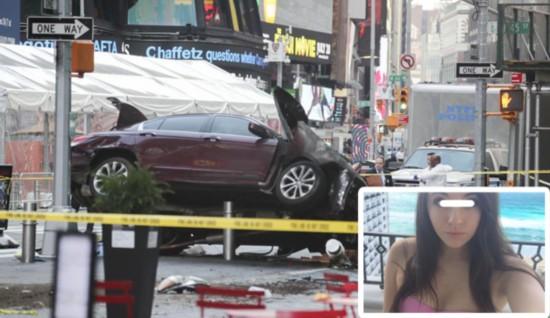 5月18日,纽约时报广场汽车冲撞行人导致1死22伤.图中右下角为遇图片
