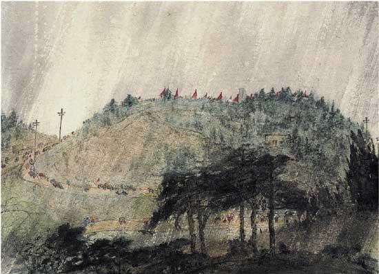 傅抱石 雨中雨花台 设色纸本 纵51cm 横71.2cm 上世纪50年代