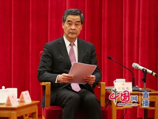 全国政协副主席、香港特别行政区行政长官梁振英发言 中国网 郑亮