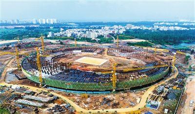 海口五源河体育场主体结构下月封顶