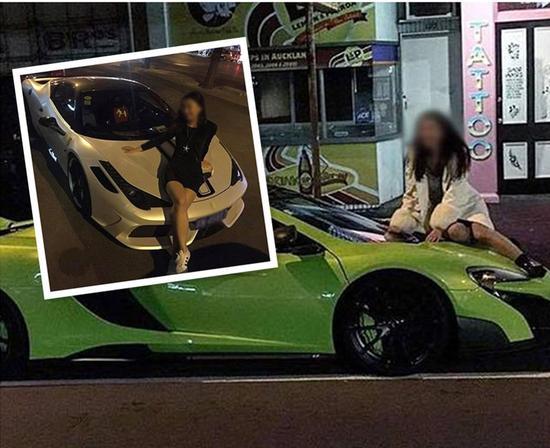 """尴尬!女子爬豪车拍照被呵斥后仍晒照""""炫富"""""""