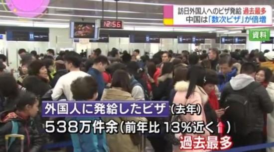 日本去年向中国人发放签证达450万 连续四年刷新历史纪录