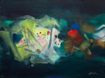 朱德群未知的世界 布面 油画2007年 97×130 cm