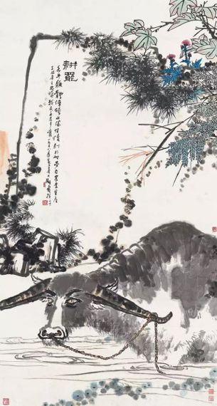 潘天寿耕罢 立轴 设色纸本 228x122 cm
