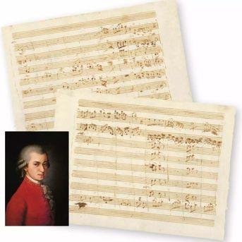 奥地利古典主义作曲家 莫扎特《D大调小夜曲》乐谱原稿 16.2cm×21.7cm