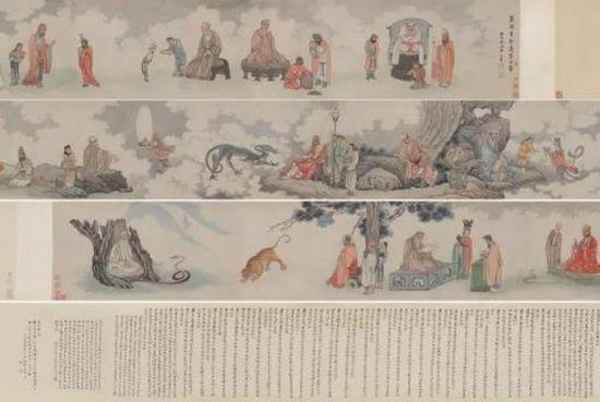 吴彬 十二尊者相 手卷设色纸本 画:38.5×644.5 cm  题跋:39×230 cm