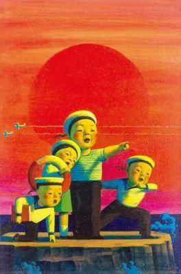 刘野 朝阳 布面 油画 60×40cm