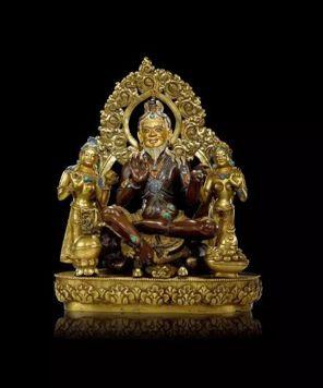 西藏17世纪大成就者萨惹哈组像 紫、 黄双色俐玛嵌金、 银及宝石, 局部鎏金 泛亚旧藏