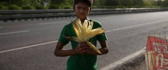 心酸!印度童工酷暑买玉米求生 月收入仅为80美元