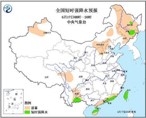 云南海南降雨内蒙古吉林等地有雷暴大风或冰雹
