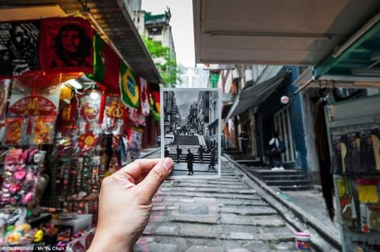 石板街是香港最古老的街道.-摄影师还原 过去的 的香港图片