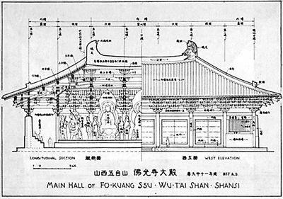 梁思成《图像中国建筑史》载佛光寺东大殿纵断面与正立面图