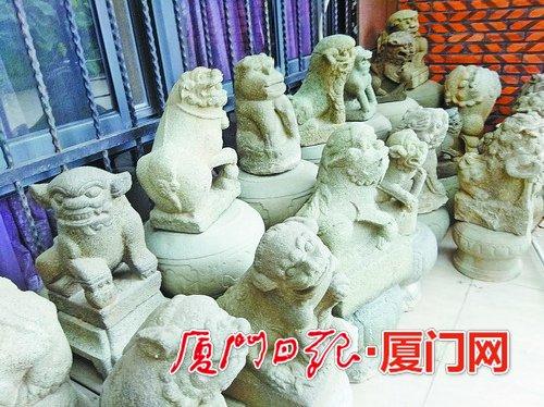 漳州人7年收藏300多只古石狮 想建一个古石狮博物馆