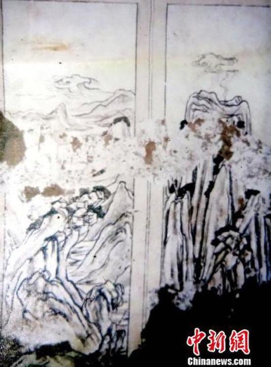 山水屏风画或为迄今发现最早的唐代山水画。陕西省考古研究院供图